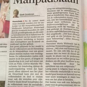 Scepsis over plannen voor Manpadslaan