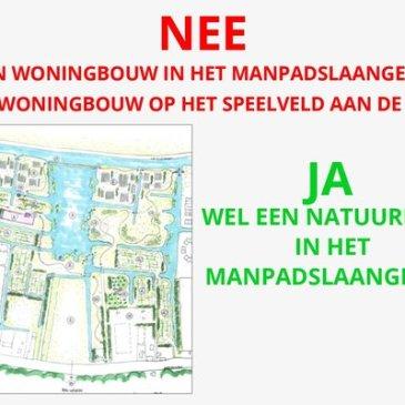 NEE tegen woningbouw in het Manpadslaangebied en op het speelveld aan de Linge